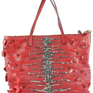 Valentino Red Leather Beaded Sequin Shopper Tote